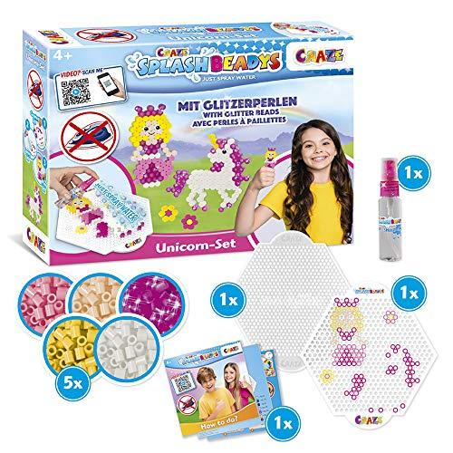 CRAZE Kinderbeschäftigung Splash BEADYS Unicorn Bügelperlen ohne Bügeln Beginner Bastelset Einhorn Prinzessin Princess 32480, mehrere Farben im Set