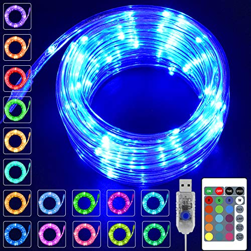 KNONEW LED Rope Lights 16 Colors Changing 100 LED 33ft USB Powered Fairy Rope Light with Remote, Indoor Decorative Lighting for Wedding Christmas...