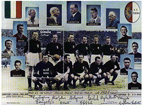 Stamp Calcio Italiano - Mint e minifoglio Timbro smontato con la Squadra di Calcio Italiana dal 1942 - 1949