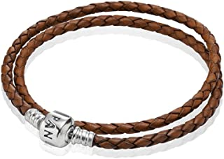 Pandora Brown Braided Double Leather Charm Bracelet #590705CBN-D1 13.8 inch