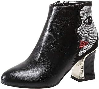 Melady Women Fashion Dress Booties Block Heels