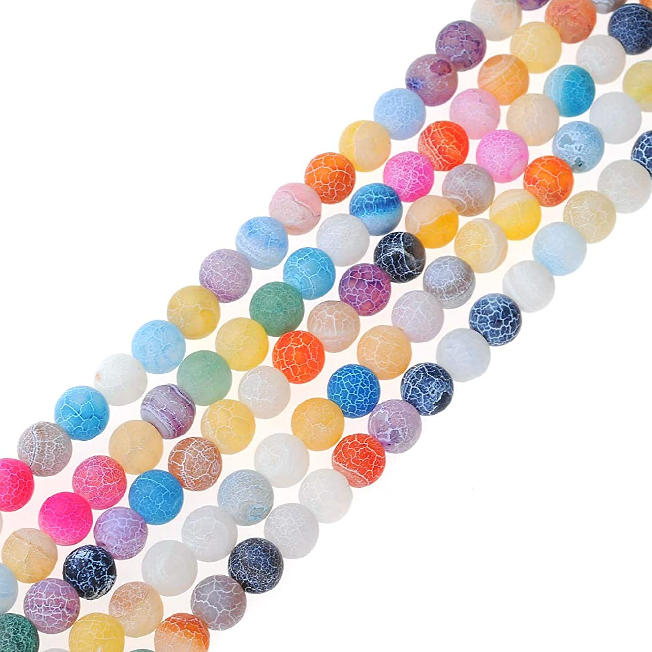FANGQUN Natural Frosted Beads for Jewelry Making Natural Stone Loose Beads for Bracelets Necklace Anklets(6mm, 60pcs)