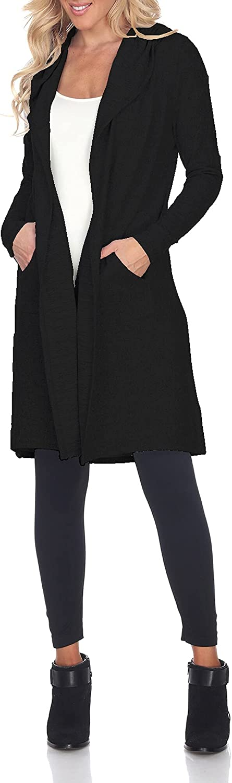 White Mark Women's Solid Hooded Cardigan Poncho Shawl