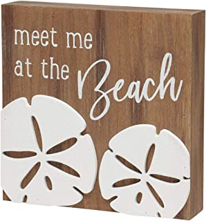 'Meet Me at The Beach' Sand Dollar Wood Box Sign