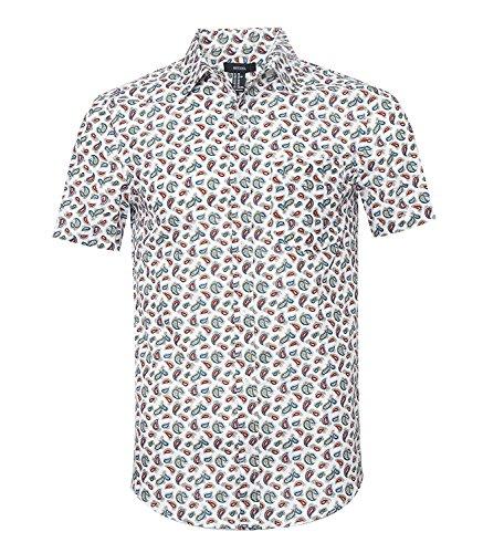 NUTEXROL Camicia Stampa Frutta e anacardio - Camicia Button-Down Uomo T-Shirt Casual Camicia a Maniche Corte, Bianco, S