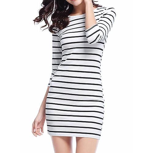 3f4291a09ec Genluna Women s 3 4 Sleeve Striped Bodycon Dress Casual Dresses(XS-XL)