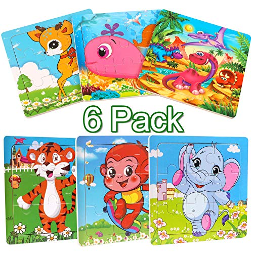 StillCool Wooden Jigsaw Puzzles Set for Kids Age 2-5 Year Old 9 Piece Animals Colorful Wooden Puzzles for Toddler Children Learning Educational Puzzles Toys for Boys and Girls