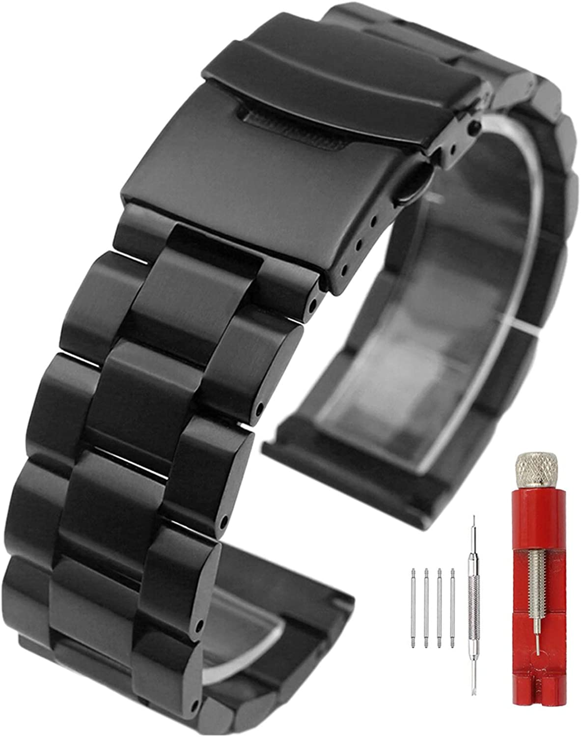 Silver Black Stainless Award-winning store Steel Watch Max 44% OFF Bands Brushed Finish St