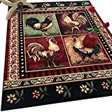 """HR-Cabin Rug–Lodge, Cabin Nature and Animals Area Rug–Modern Geometric Cabin Area Rug–Abstract,Black/Green/Red-Rooster/Flower (7'6"""" x 10'5"""")"""