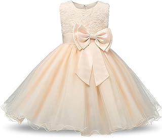 95e1a8880c7b3 BOZEVON Robe De Soirée Filles Fête Élégante pour Enfant sans Manches  Dentelle Bowknot Robe de Princesse