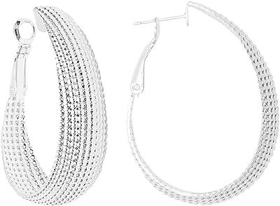 1coppia di orecchini a cerchio fatti a mano in argento 925 sterling ovali