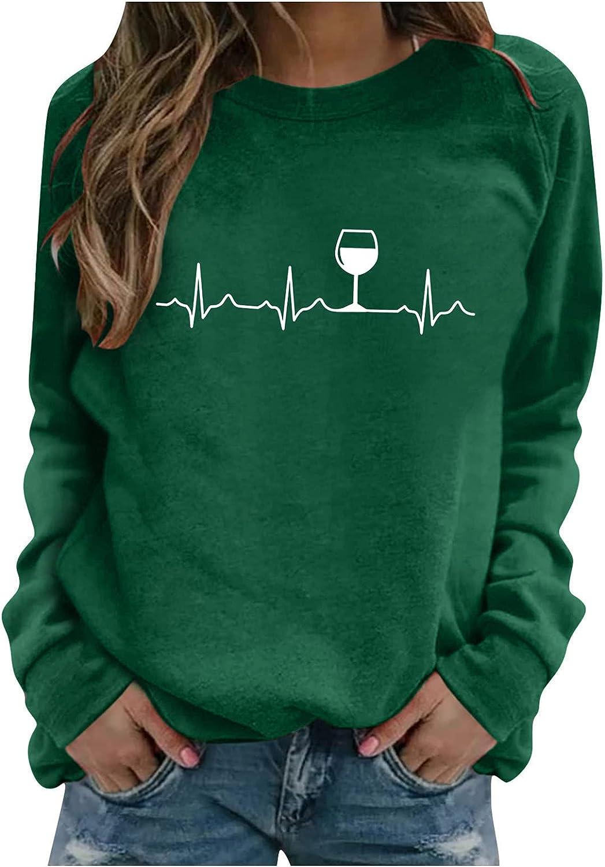 Aniwood Women's Teen Girls Printed Gradient Long Sleeve Crewneck Casual Loose Sweatshirts for Women Hooded Top Blouse