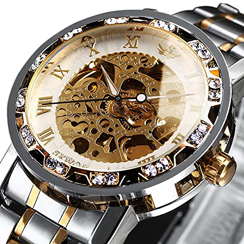 Watches, Men's Watches Mechanical Hand-Winding Skeleton Classic Fashion...