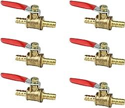 6Pcs Brass Hose Barb Ball Valve, 180 Degree Operation Handle Water Gas Shutoff Valve for 6mm(1/4'') ID Tube