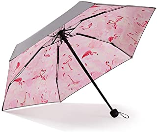 Household Black Umbrella Ultralight Portable Folding Umbrella Sun Protection UV Umbrella Umbrella HYBKY (Color : Red)