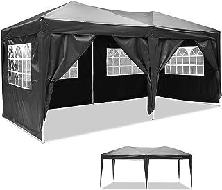 Maxx® 3x6m Partyzelt Gartenzelt Garten Pavillon Bierzelt Festzelt mit 6 Seitenteilen (Schwarz)