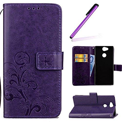 Preisvergleich Produktbild HMTECH Sony Xperia L2 Hülle Lucky Clover Blumen Prägung Flip Leder Brieftasche Standfunktion Karten Slot Magnetverschluß Taschen Schalen Handy für Sony Xperia L2, Lucky Clover:Purple