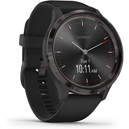 Garmin vivomove 3, Hybrid Smartwatch with Real Watch Hands and Hidden Touchscreen Display, Black