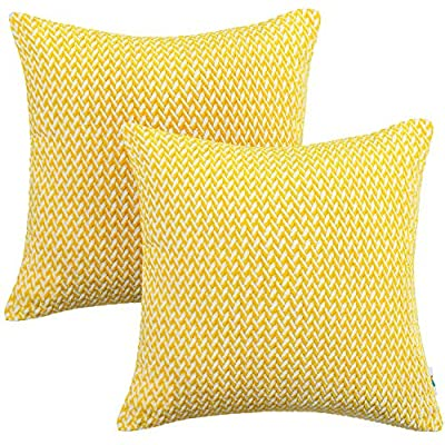 PAULEON Throw Pillow Covers 20x20 – Yellow and White, Set of 2 – Decorative Cushion Cases – Perfect for Couch, Sofa, Bed, Accent Pillows