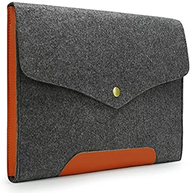Lavievert Gray Felt Case Leather Bottom Bag Sleeve for Apple 13  Macbook Pro / 13  Macbook Pro with Retina / 13  Macbook Air and Most Popular 13-13.3 Inch Laptop/Notebook / Computer/Ultrabooks