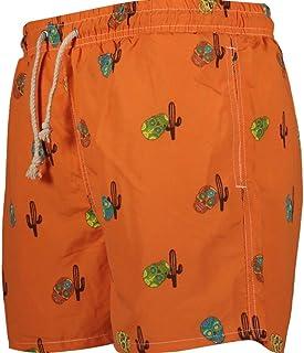 7c6bee9e44955 Havacoa Orange Mexican Skull Print Swimming Trunks