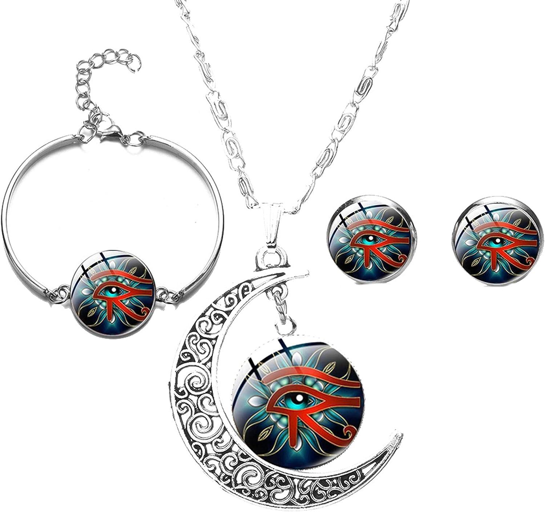 Ssanggye Ancient God Horus Eye Jewelry Set Egyptian Magic Talisman Lucky The Eye of Horus Glass Dome Earrings Bracelet Necklaces Sets