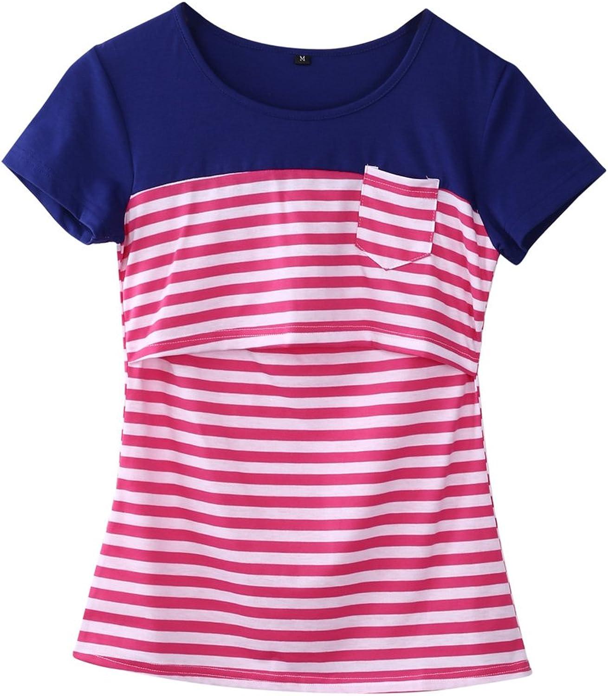 Nituyy Women Breastfeeding Shirt Striped Patchwork Short Sleeve Maternity Breastfeeding and Nursing Tops (Red Stripe, S)