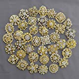 40 pcs Gold Rhinestone Brooch Crystal Brooches Wedding Invitation Cake Decoration Brooch Bouquet Kit Wholesale Lot BR664
