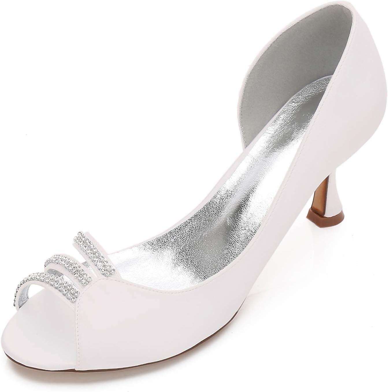 COMFASH 17061-32 Women Mid Heels Satin D'orsay Peep Toe Dress Pumps Rhinestiones Wedding Evening Court Shoes Ivory