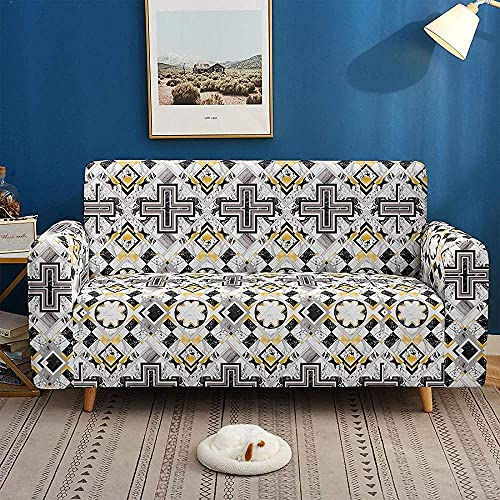 ADIS Funda elástica 3D Digital con textura geométrica Spoder antideslizante para sofá de 1, 2, 3, 4 plazas, 90 – 140 cm