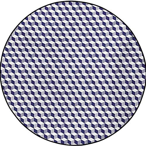 Navy Blue Polyester Indoor/Outdoor Area Rug Abstract Round Rug Abstract Cube Shape Striped Geometric Three Dimension Pattern Squares and Lines Night Blue 2.9 ft in Diameter
