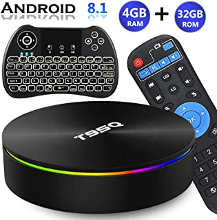 Android TV Box 8.1, EVANPO Android TV Player Quad-Core Amlogic S905X2 4GB/32GB Support Dual Band WiFi/H.265/ BT4.1/ USB 3.0/ 1000M LAN/3D/6K Ultra HD Smart Box Media Player with Wireless Mini Keyboard