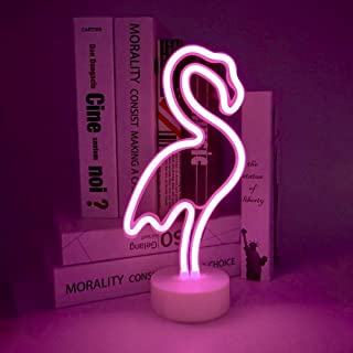 ENOULI Flamingo Neon Light Signs Pink LED Neon Art Decorative with Holder Base Table Light Marquee Signs/Wall Decoration for Kids' Room Birthday Party Light Bar Recreational Wedding Party