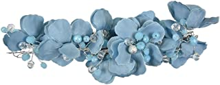 Full Flower Wreath Clip with Gold and Crystal Beads - Light Blue