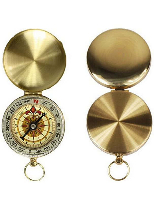 Golden Compass Watch for Directions & Sailing, Mini Compasses Brass Keychains Best Survival Watch Classic Pocket Compass, Military Kids Compass Navigation Tool Vintage for Hiking Camping Climbing