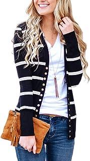 PINKMSTYLE Women`s Striped Long Sleeve Open Front Lightweight Knit Cardigan Sweater