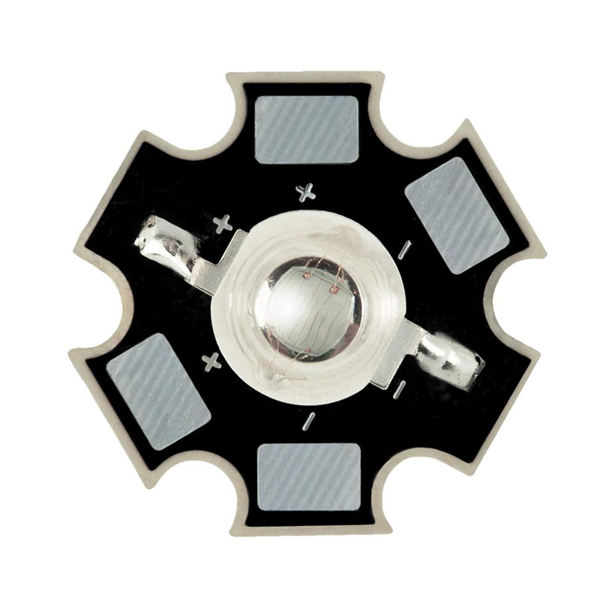 1W Componente LED de Alta Potencia Amarillo 595nm Diodo Emisor de Luz en 20mm placa de circuito impreso PCB Crecen luces y proyectos electr/ónicos Iluminaci/ón del Acuario 1 x LED