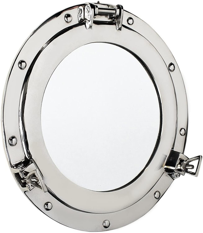 Nagina International Premium Silver Lined Aluminum Nickel Coated Nautical Ship's Porthole Window   Maritime Wall Decor Mirror   Exclusive (20 Inches, Mirror)