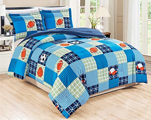 3-Piece Queen Size Sports Themed Comforter Set Goose Down Alternative Bedding (Navy, Blue, Green, Orange, White, Plaid)
