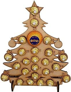 onecomma Calendario de Adviento de Navidad de madera hecho a mano Árbol de Navidad vacío Cuenta atrás Soporte de chocolate Decoraciones para el hogar Amarillo precioso