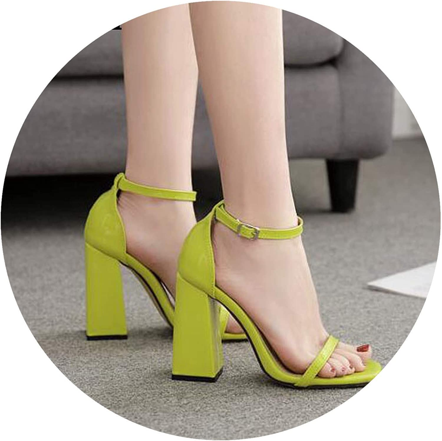 Fluorescent Green Buckle Strap Women's Sandals shoes Sexy Open-Toed Party Square High Heels Sandals