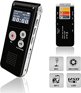UVER Voice Recorder, Digital Voice Recorder, Voice Activated Recorder with Playback, Rechargeable Tape Dictaphone Recorder...