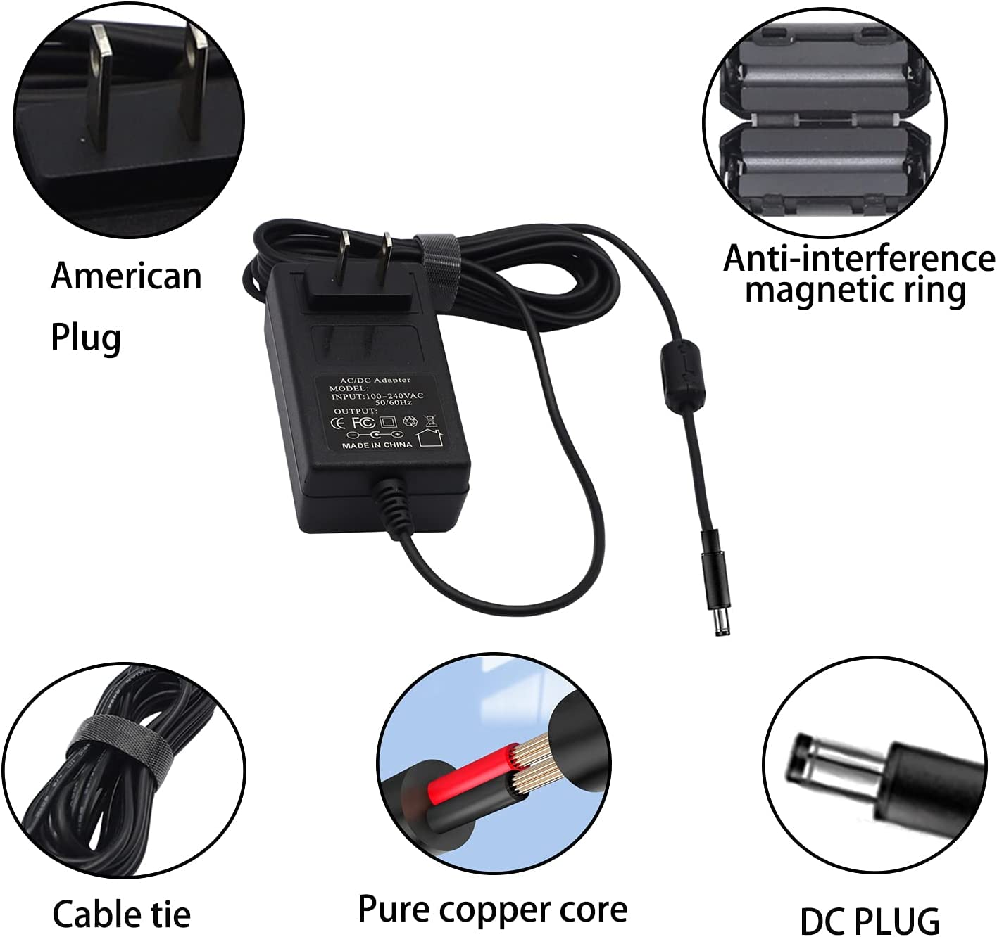 15V 3A AC/DC Power Supply Adapter Charger DC Plug 5.5x2.1mm & 2.5mm Center Positive for 15 Volt 1A 2A 2.1A 2.2A 2.3A 2.4A 2.5A 2.6A 2.7A 2.8A 2.9A 3A, 1000mA~3000mA Equipment Charger Cable Cord 6.6 ft