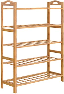 HOKIPO 5 Tier Bamboo Slipper Stand Chappal Storage Organizer Shoe Racks Utlity Racks, 90 x 67 x 25 cm (AR2938)