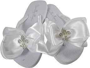 Fleur de Lis Rhinestone Bows on Flat Heel Flip Flops, Bride & Bridesmaids