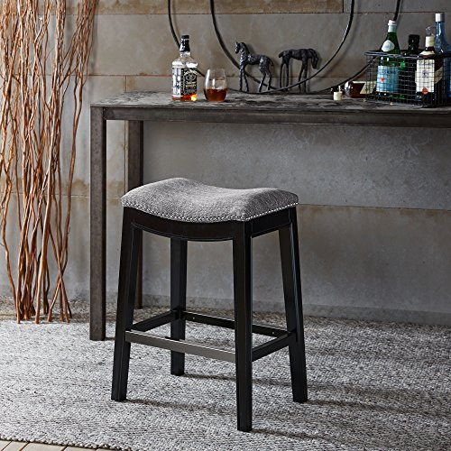 Madison Park Belfast Bar Stools, Contour Fabric Padded Seat, Nail Head Trim, Modern Kitchen Counter Chair, Solid…