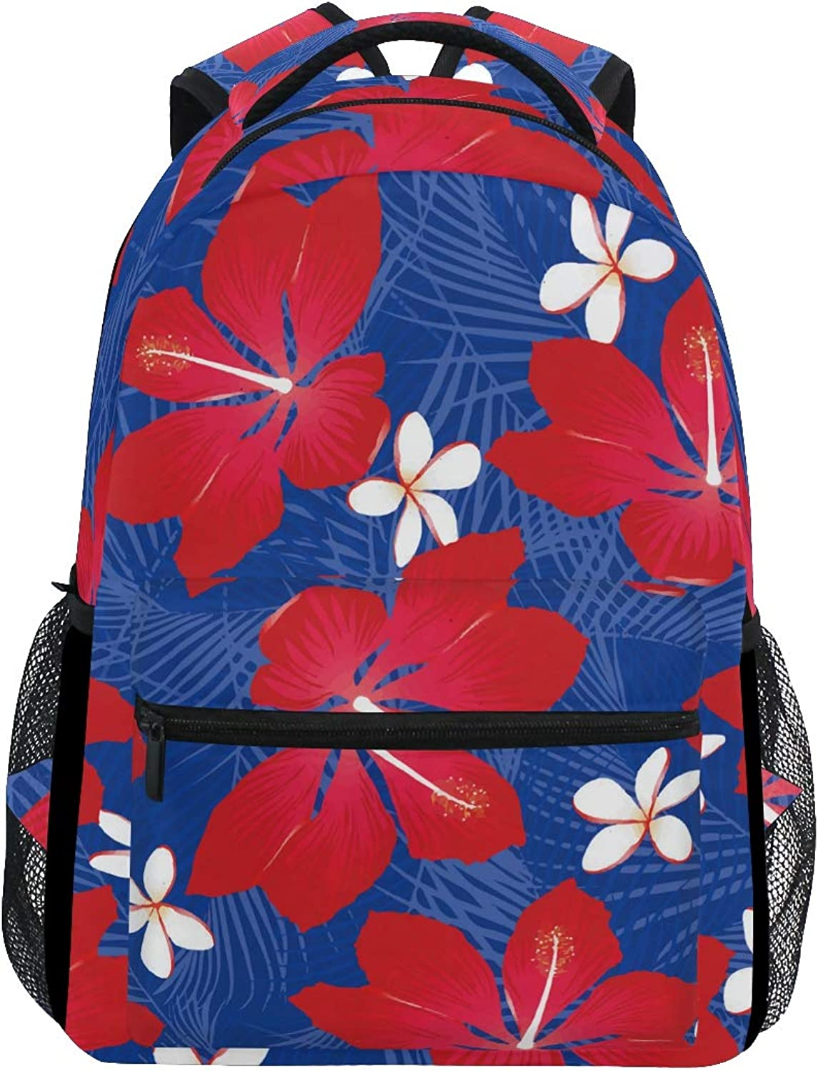 blueee Tropical Palm Leaves with Hibiscus Flowers Trekking Backpack Fashion Backpack Oversized Backpack Men and Women Durable Travel Computer Backpack 17 Inch Notebook Waterproof Large Business Bag