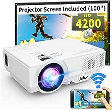"""WiFi Mini Projector, Jinhoo 2020 Latest Update 4200 Lux [100"""" Projector Screen.."""