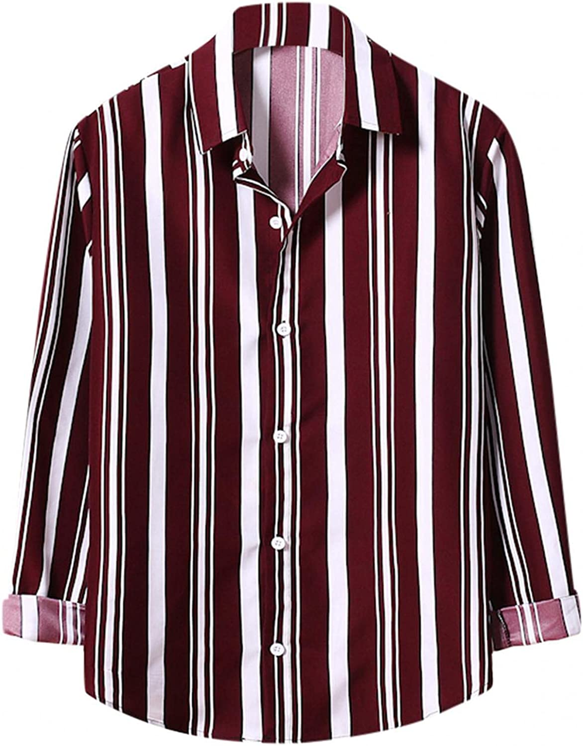 T Shirts for Men Long Sleeve Lapel Striped Tops Fashion Casual Color Block Button Down Blouse Classic Slim Fit Shirt