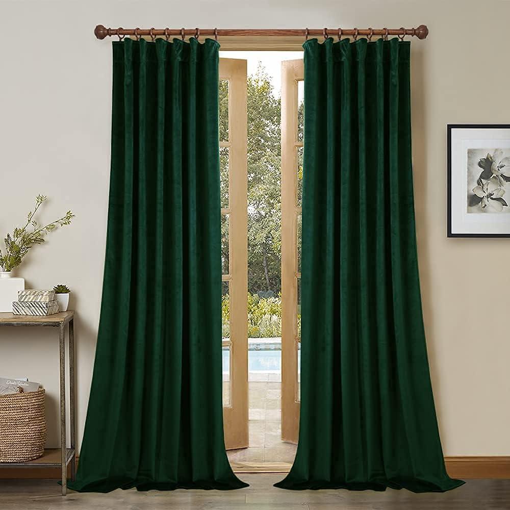 StangH Velvet Curtains 108 2021 inches Long Blac - Bedroom Dark Green Genuine